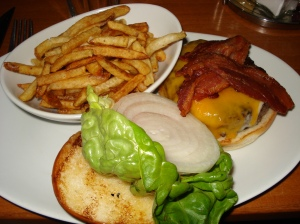 Proper hamburger with proper bacon at Five-Napkin Burger, New York City